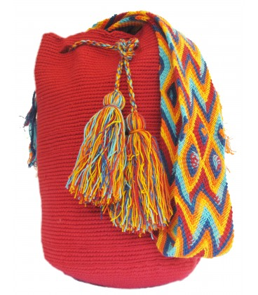 Red Colors Plain Crochet Wayuu Pattern Mochila Bag