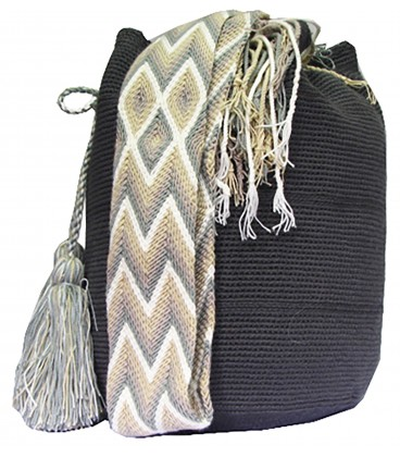 Gray Crochet Wayuu Pattern Mochila Bag