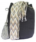 Gray Plain Crochet Wayuu Pattern Mochila Bag