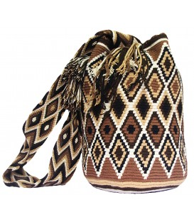 Earth Colors Complex Crochet Rhombus Wayuu Pattern Mochila Bag