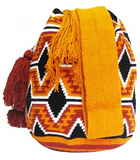 Orange Complex Patterns Wayuu Mochila Bag