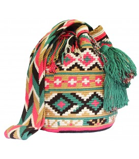 Complex Pink Patterns Wayuu Mochila Bag