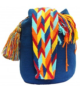 Azure Blue Wayuu Mochila Colombian Shoulderbag