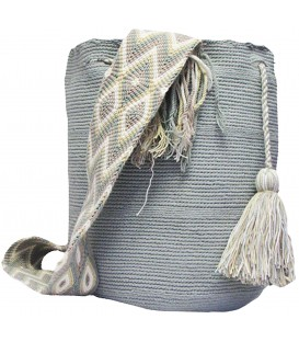 Solid Metal Gray Wayuu Mochila Bag