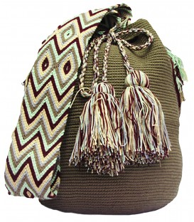 Solid Olive Green Wayuu Mochila Bag