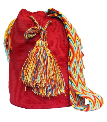 Red Wayuu Mochila Bag