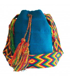 Light Blue Colors Plain Crochet Wayuu Pattern Mochila Bag