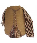 Light Brown Colors Plain Crochet Wayuu Pattern Mochila Bag
