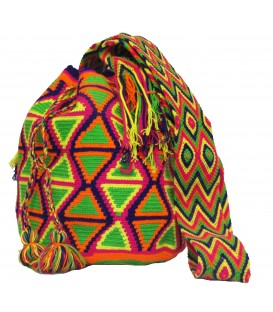 Mochila Wayuu Tribal Patrones Diamante Multicolor