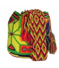 Tribal Complex Clock Pattern Multicolor Wayuu Bag