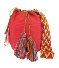 Light Pink Colors Plain Crochet Wayuu Pattern Mochila Bag