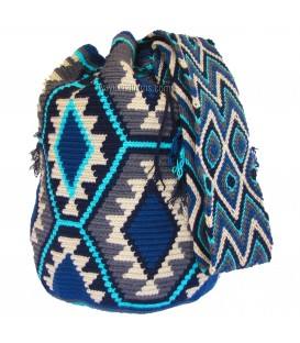 Blue Patterns Abstract Wayuu Bag