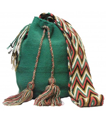 Shamrock Green Colors Plain Crochet Wayuu Pattern Mochila Bag