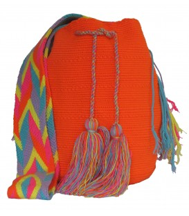 Orange Colors Plain Crochet Wayuu Pattern Mochila Bag
