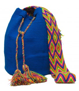 Electric Blue Colors Plain Crochet Wayuu Pattern Mochila Bag
