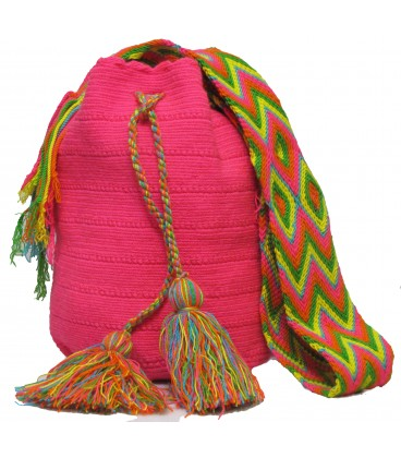 Pink Colors Plain Crochet Wayuu Pattern Mochila Bag