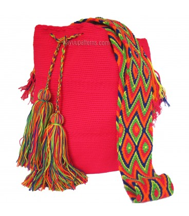 Tawny Brown Colors Plain Crochet Wayuu Pattern Mochila Bag