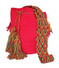 Neon Fuchsia Colors Plain Crochet Wayuu Pattern Mochila Bag