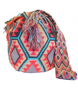 Pastel Colors Hexagonal Complex Wayuu Pattern Mochila Bag