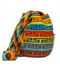 Blue/Red/Orange/Yellow Thin Orthogonal Wayuu Pattern Bag