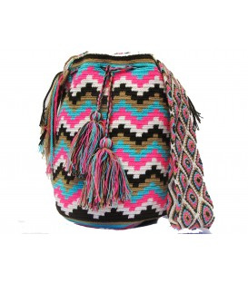 Neon Multicolor Zigzag Wayuu Pattern Bag