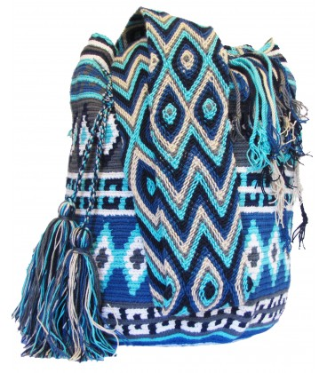 Complex Blue Patterns Cotton Shoulderbag