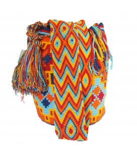 Blue/Red/Orange/Yellow Abstract Poligon Wayuu Pattern Bag
