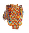 Blue/Red/Orange/Yellow Abstract Orthogonal Wayuu Pattern Bag