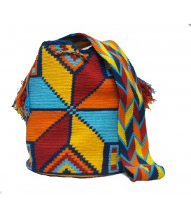 Blue/Red/Orange/Yellow Poligon Wayuu Pattern Bag