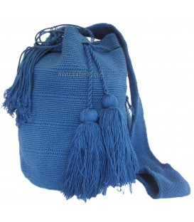 Azure Blue Plain Single Color Wayuu Bags
