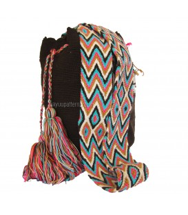 Dark Brown Colors Plain Crochet Wayuu Pattern Mochila Bag