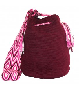 Dark Purple Colors Plain Crochet Wayuu Pattern Mochila Bag