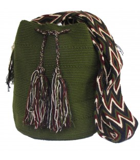 Dark Green Plain Crochet Wayuu Pattern Mochila Bag