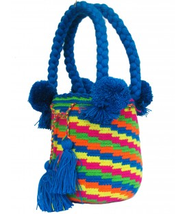 Blue Multicolor Pattern Tote Wayuu Bag