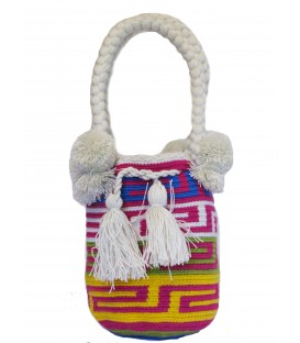 White/Red/Purple/Yellow Tote Multicolor Wayuu Bag