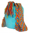 Turquoise Colors Plain Crochet Wayuu Pattern Mochila Bag