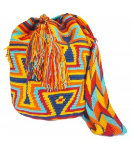 Blue/Red/Orange/Yellow Abstract Triangular Wayuu Pattern Bag