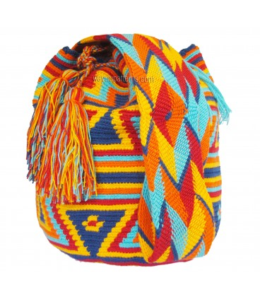Blue/Red/Orange/Yellow Complex Orthogonal Wayuu Pattern Bag