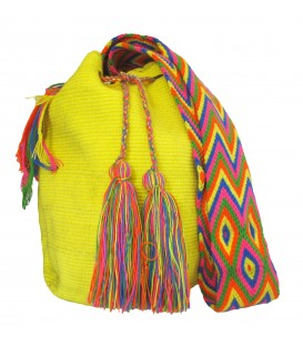 Yellow Colors Plain Crochet Wayuu Pattern Mochila Bag
