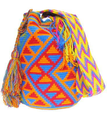 Triangular Colors Plain Crochet Wayuu Pattern Mochila Bag