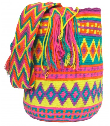 Yellow Plain Crochet Wayuu Pattern Mochila Bag