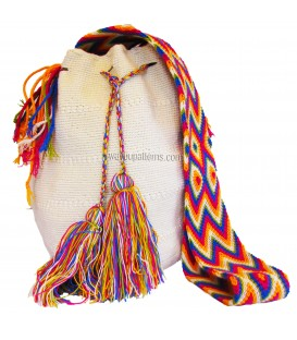 White Colors Plain Crochet Wayuu Pattern Mochila Bag