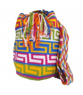 Pastel Colors Orthogonal Crochet Wayuu Pattern Mochila Bag