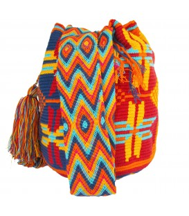 Blue/Red/Orange/Yellow Flower Wayuu Pattern Bag