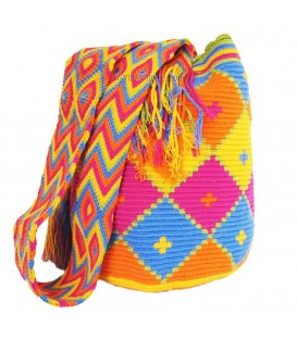 Pastel Colors Triangular Crochet Wayuu Pattern Mochila Bag