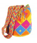 Pastel Colors Hexagonal Crochet Wayuu Pattern Mochila Bag
