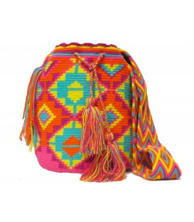 Pastel Colors Abstract Square Wayuu Pattern Mochila Bag