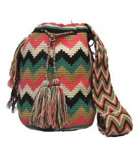 Guayaba Colors Complex Zigzag Wayuu Pattern Bag