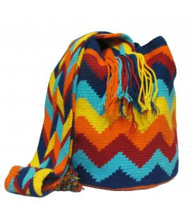 Blue/Red/Orange/Yellow Zigzag Wayuu Pattern Bag