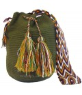 Dark Green Colors Plain Crochet Wayuu Pattern Mochila Bag